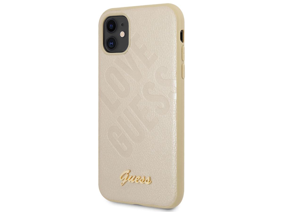 Guess Love Script Case Goud - iPhone 12 Mini hoesje
