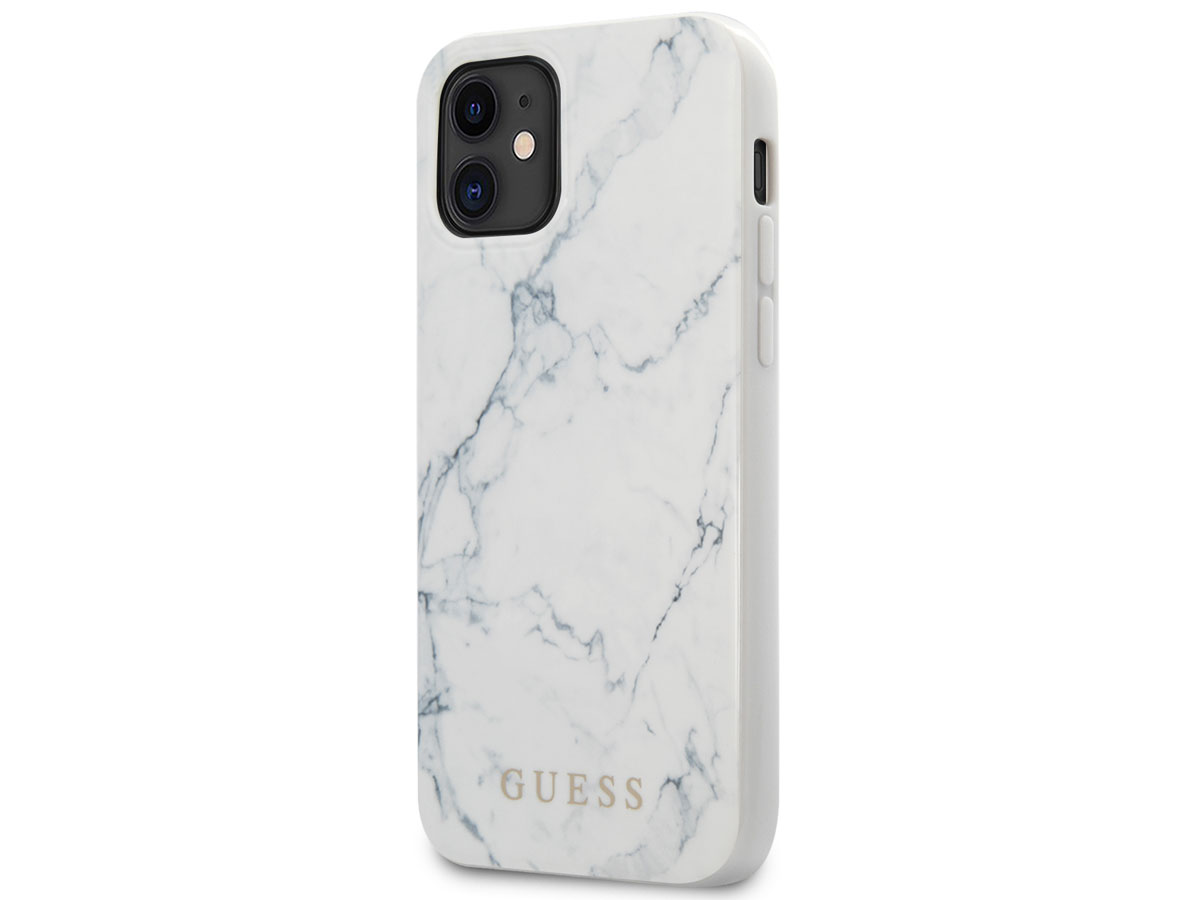 Guess Marble Case Wit - iPhone 12 Mini hoesje