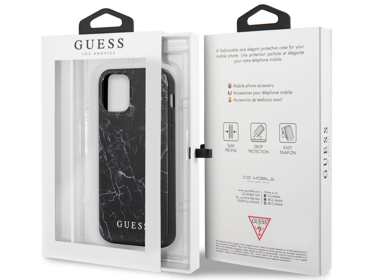 Guess Marble Case Zwart - iPhone 12 Mini hoesje