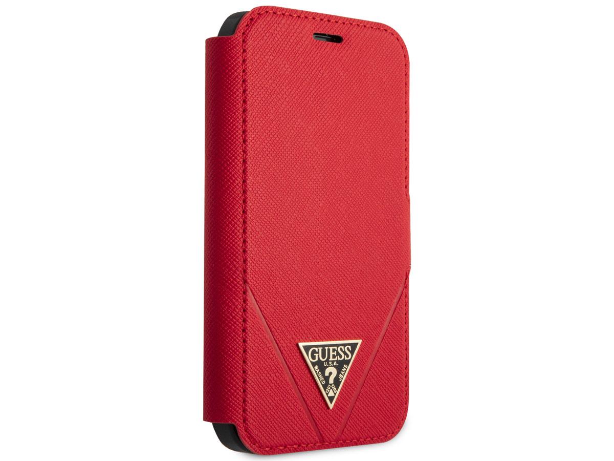 Guess Saffiano BookCase Rood - iPhone 12 Mini hoesje