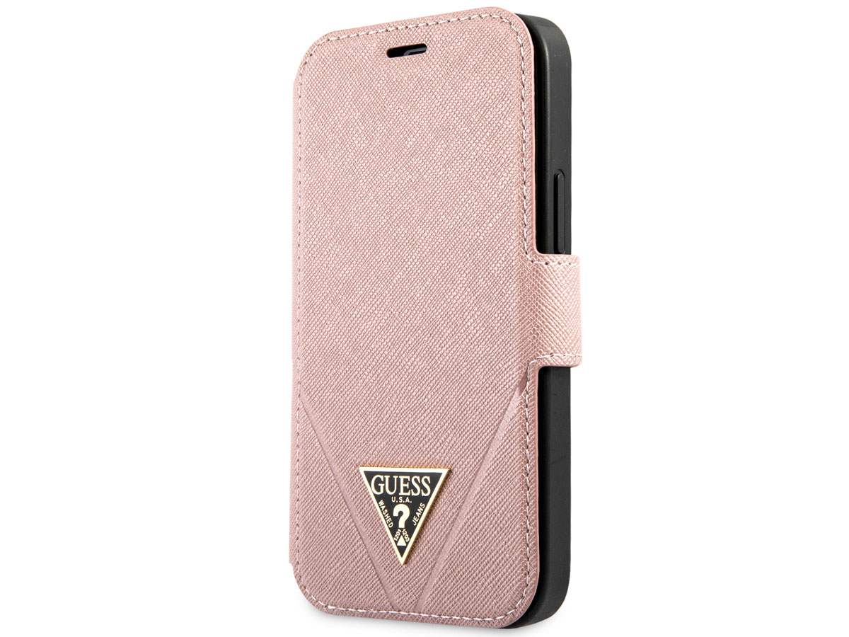 Guess Saffiano BookCase Roze - iPhone 12 Mini hoesje