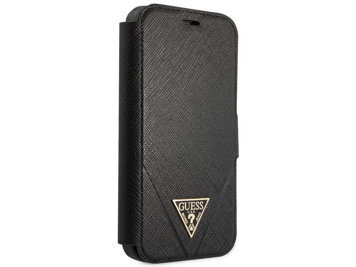 Guess Saffiano BookCase Zwart - iPhone 12 Mini hoesje