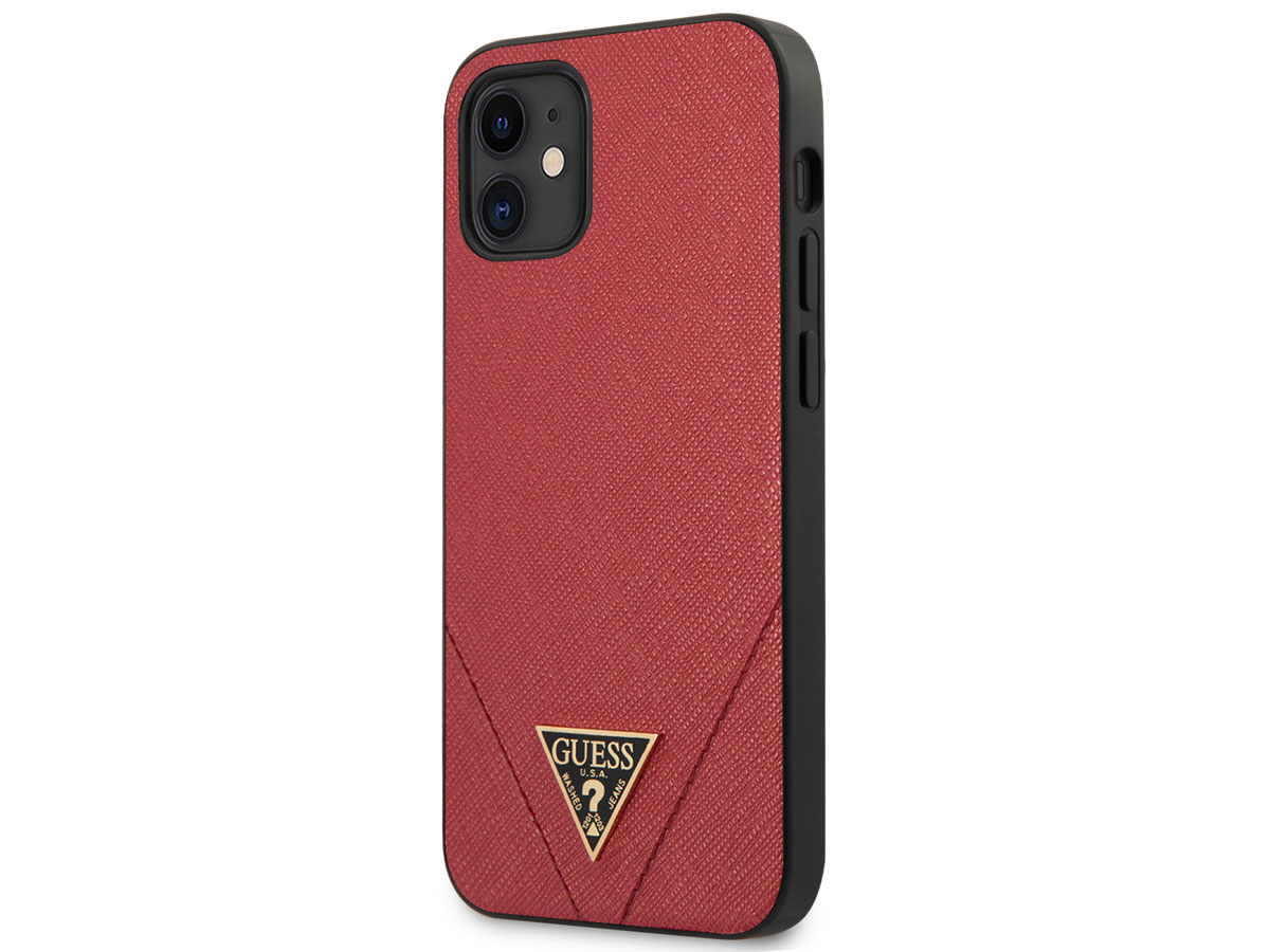 Guess Saffiano Case Rood - iPhone 12 Mini hoesje