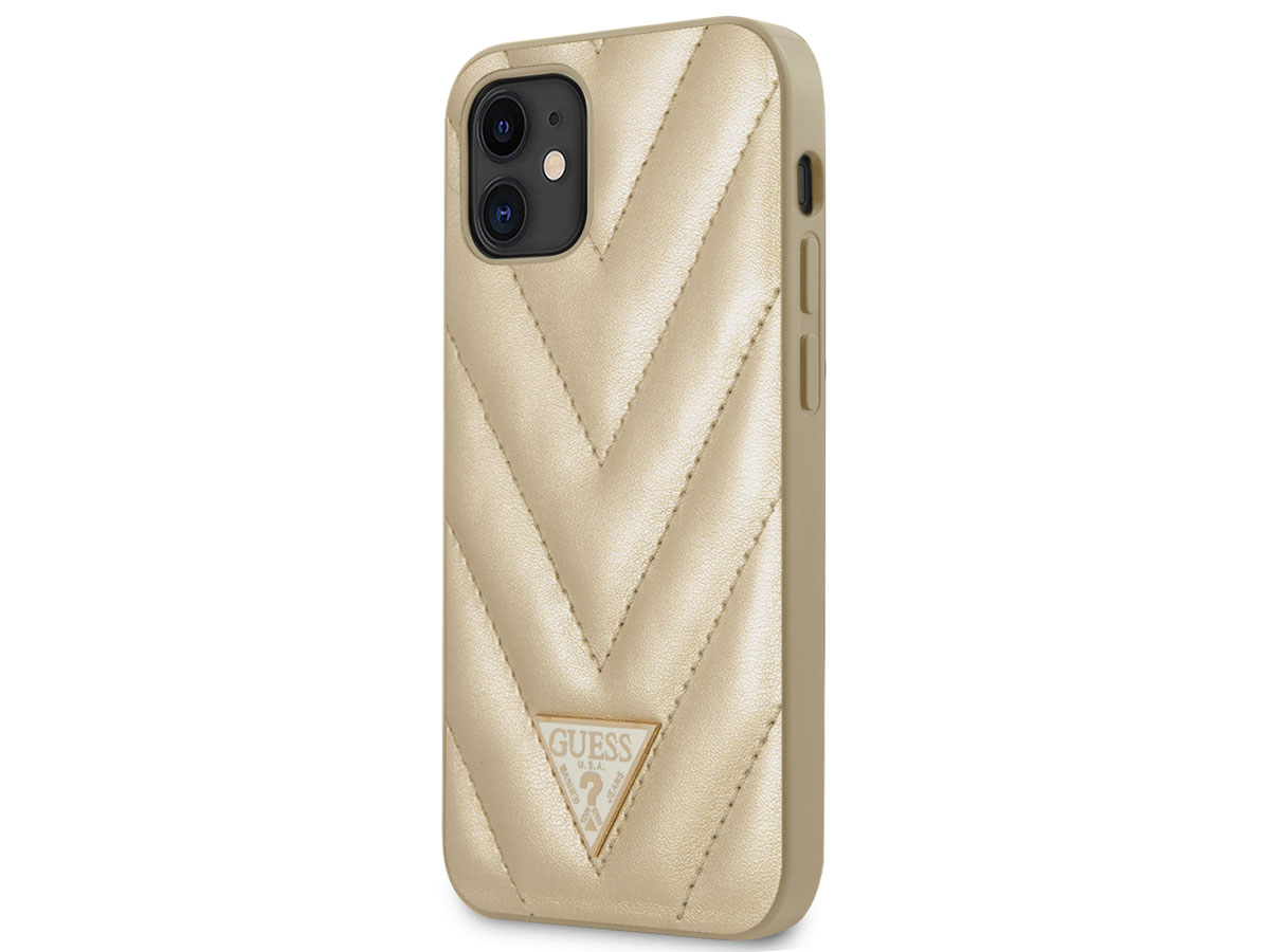 Guess V-Quilted Case Goud - iPhone 12 Mini hoesje