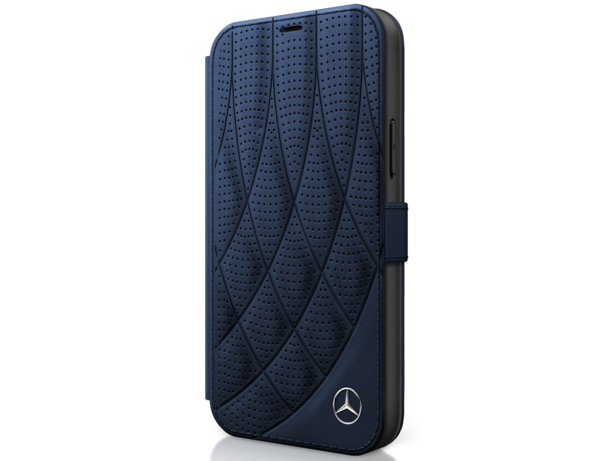 Mercedes-Benz Bow Leather Folio Blauw - iPhone 12 Mini hoesje Donkerblauw