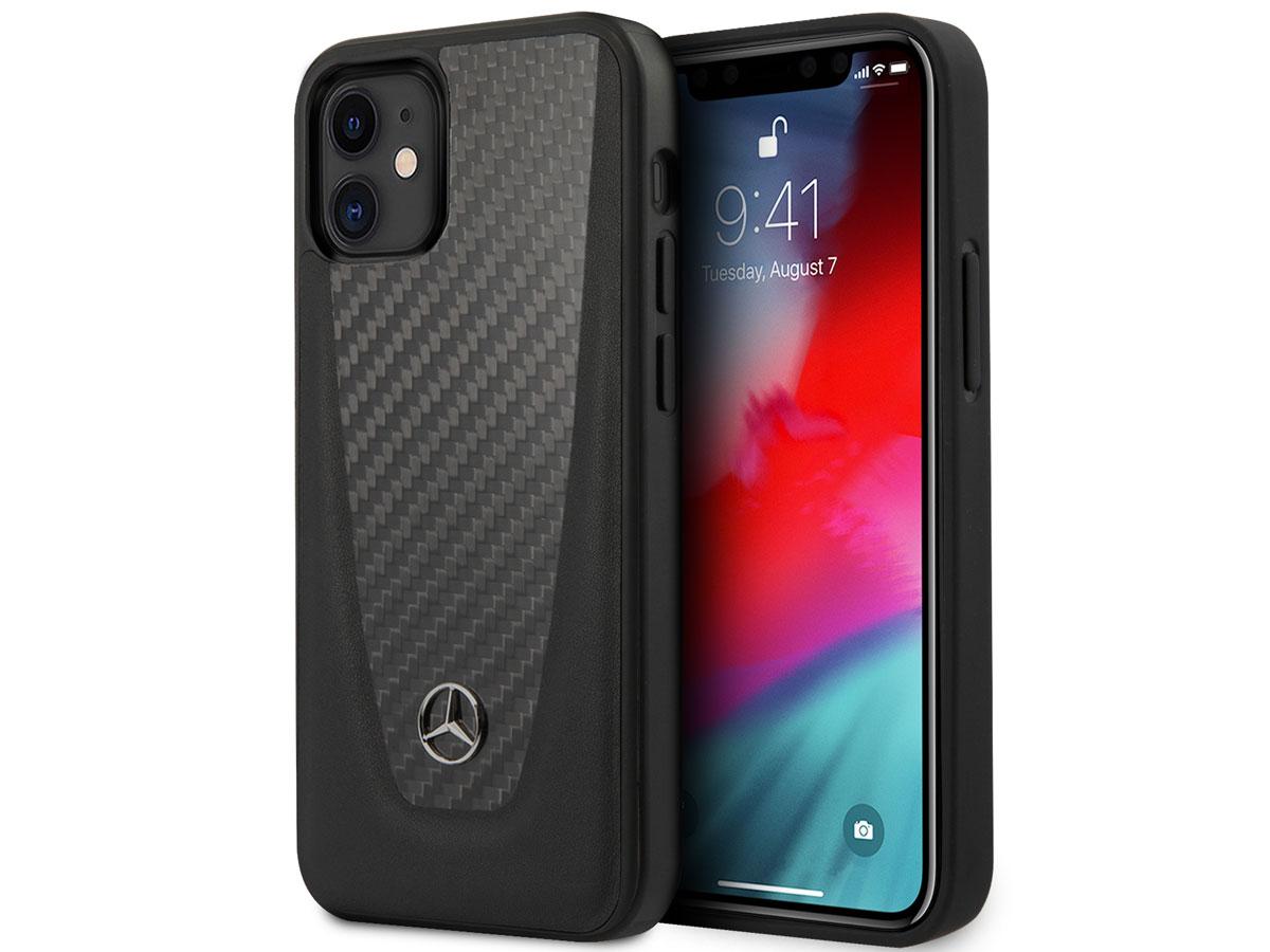 Mercedes-Benz Dynamic Line Leather Case - iPhone 12 Mini hoesje Zwart