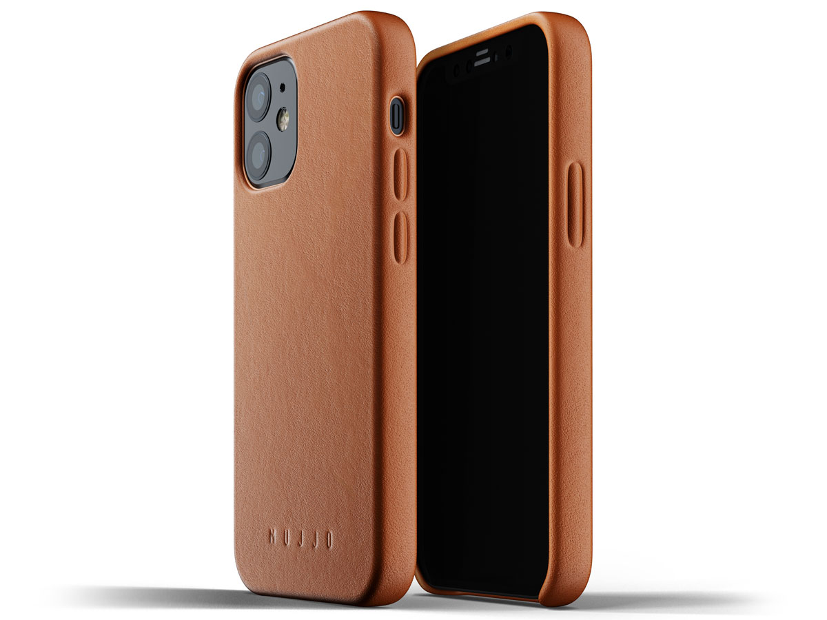 Mujjo Full Leather Case Tan - iPhone 12 Mini Hoesje Leer Cognac
