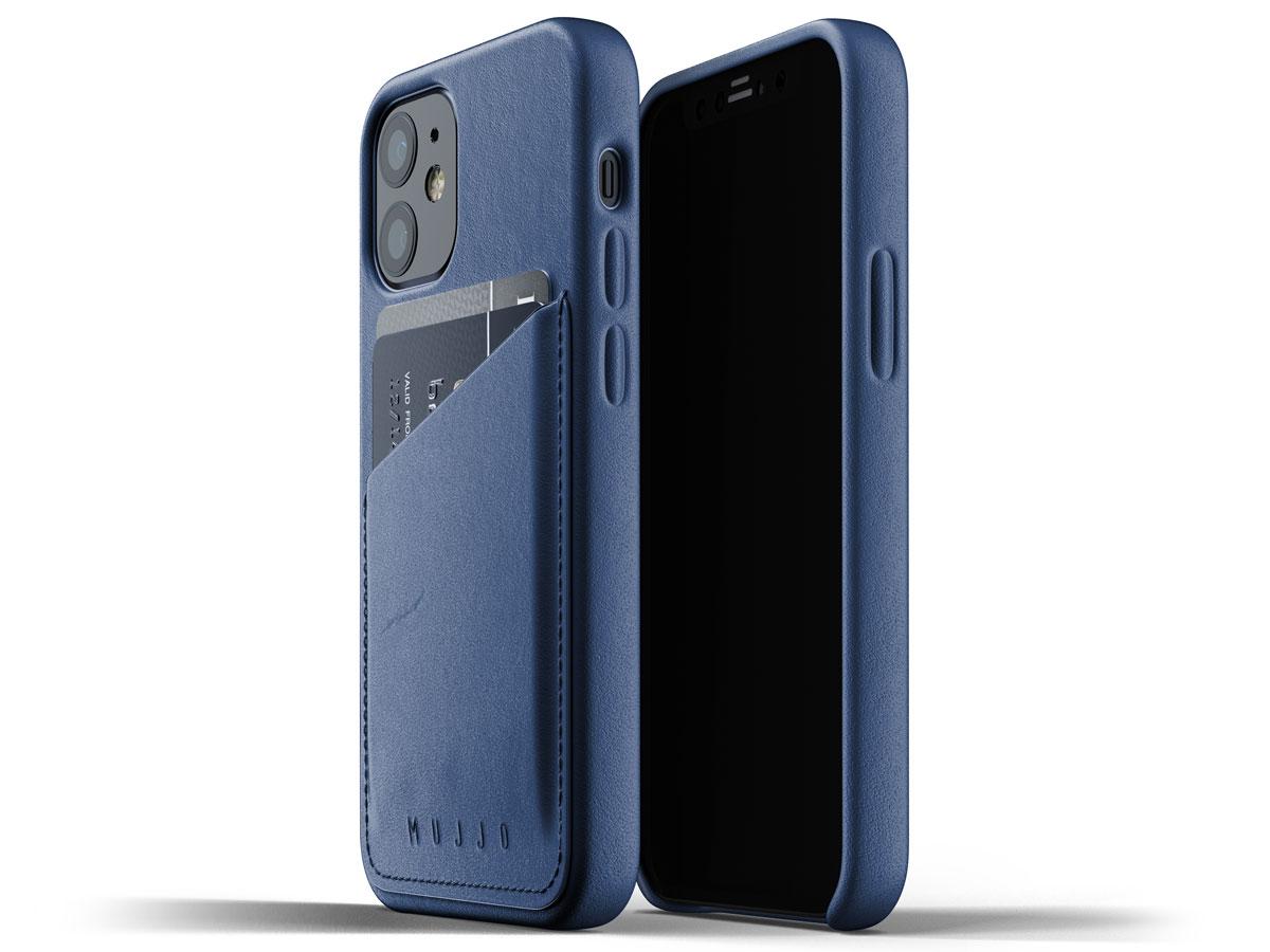 Mujjo Full Leather Wallet Case Blauw - iPhone 12 Mini Hoesje Leer