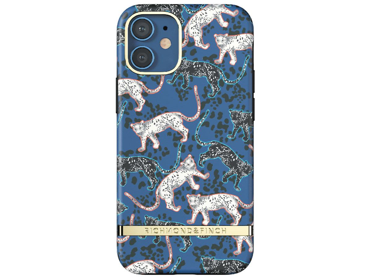 Richmond & Finch Blue Leopard Case - iPhone 12 Mini hoesje Blauw