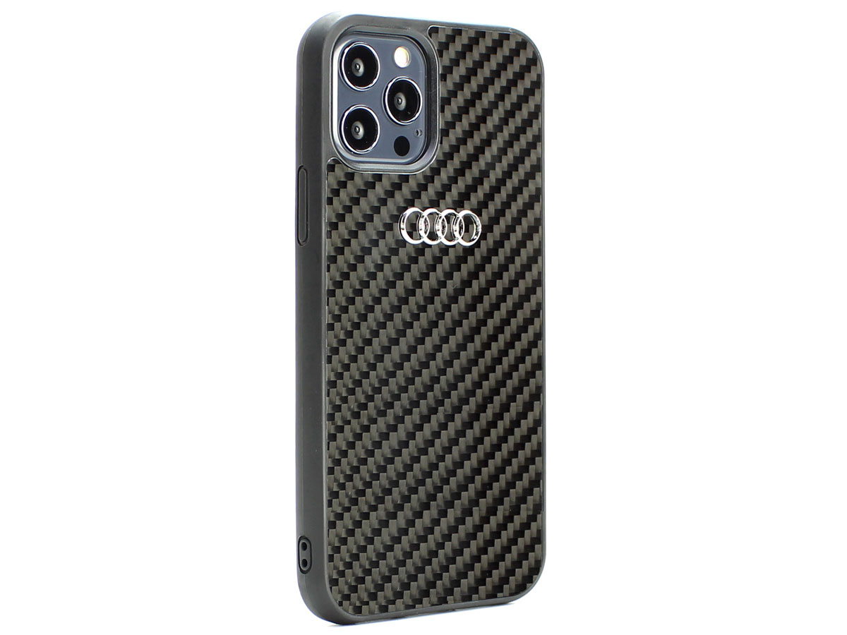 Audi Carbon-Fiber Case Zwart - iPhone 12/12 Pro hoesje