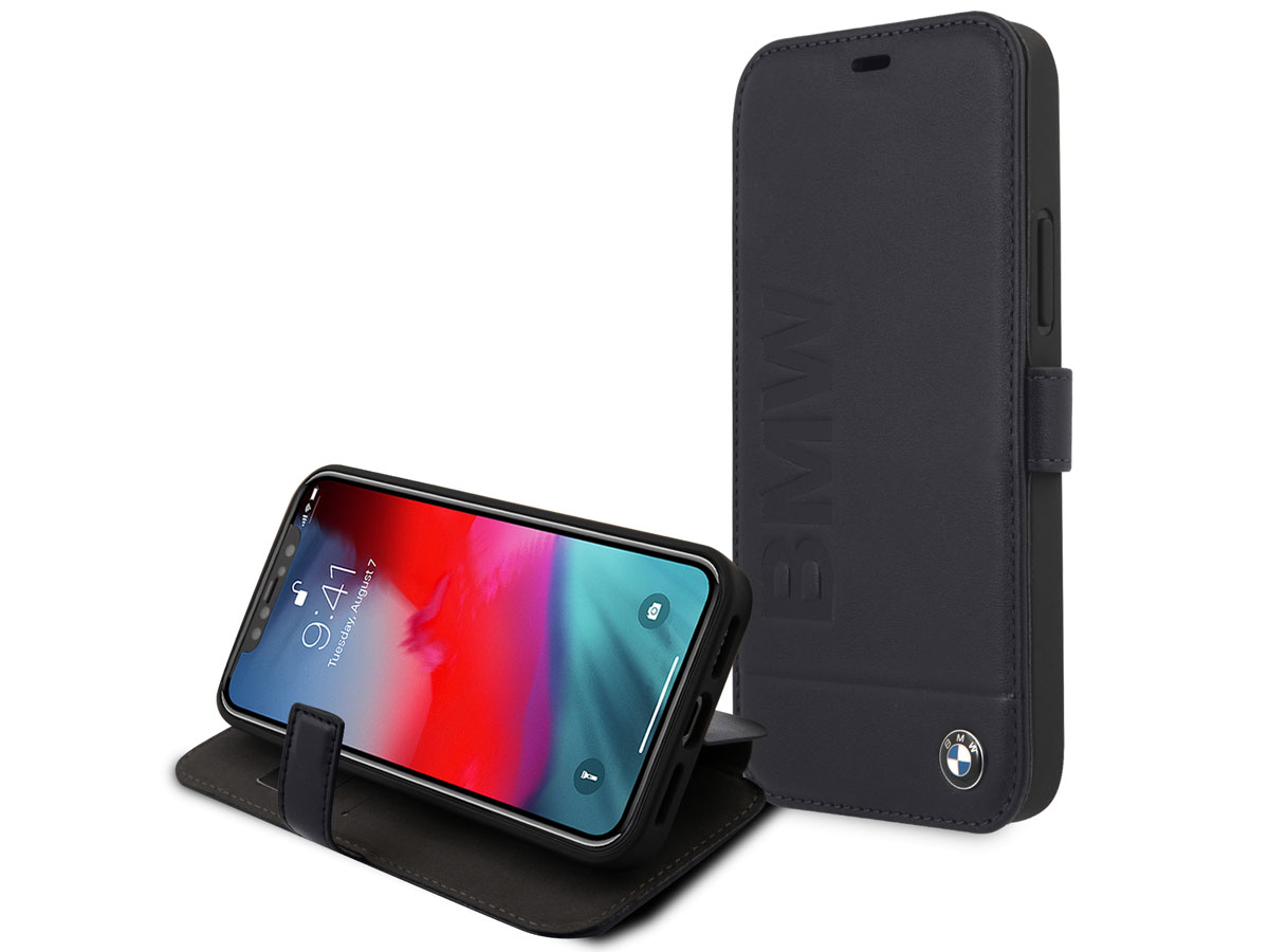 BMW Signature Bookcase Blauw Leer - iPhone 12/12 Pro hoesje