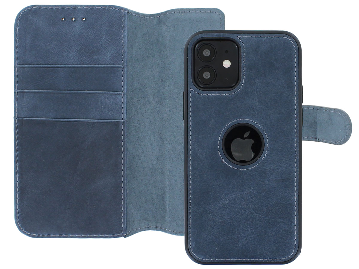 Classic 2in1 Leather Case Blauw - iPhone 12/12 Pro Hoesje Leer