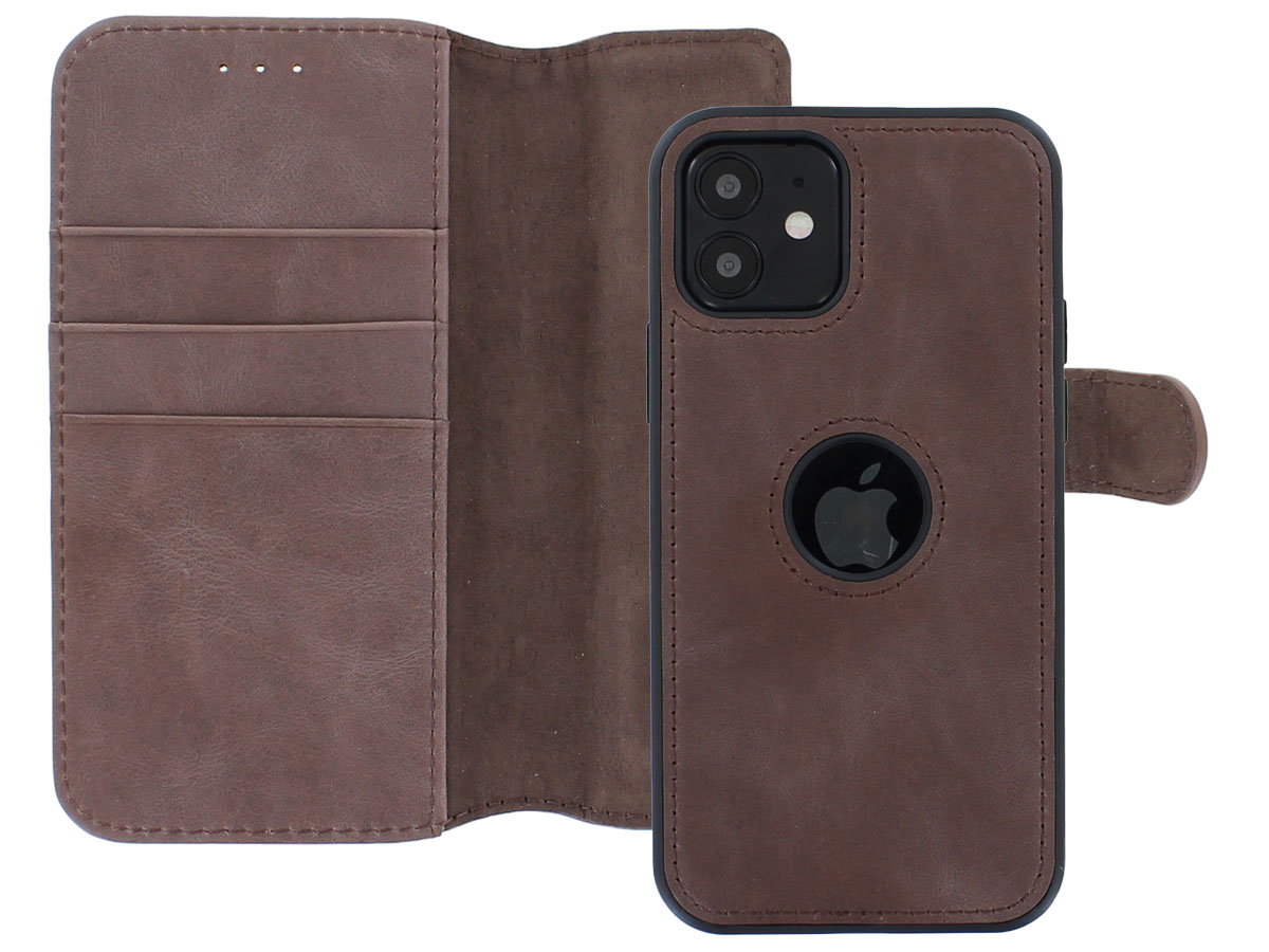 Classic 2in1 Leather Case Bruin - iPhone 12/12 Pro Hoesje Leer