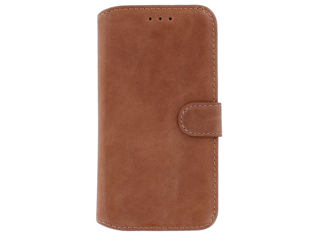 Classic 2in1 Leather Case Cognac - iPhone 12/12 Pro Hoesje Leer