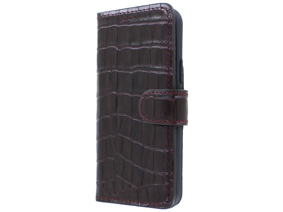 Classic Croco Leather Book Case Bordeaux - iPhone 12/12 Pro hoesje Bordeaux (Croco)