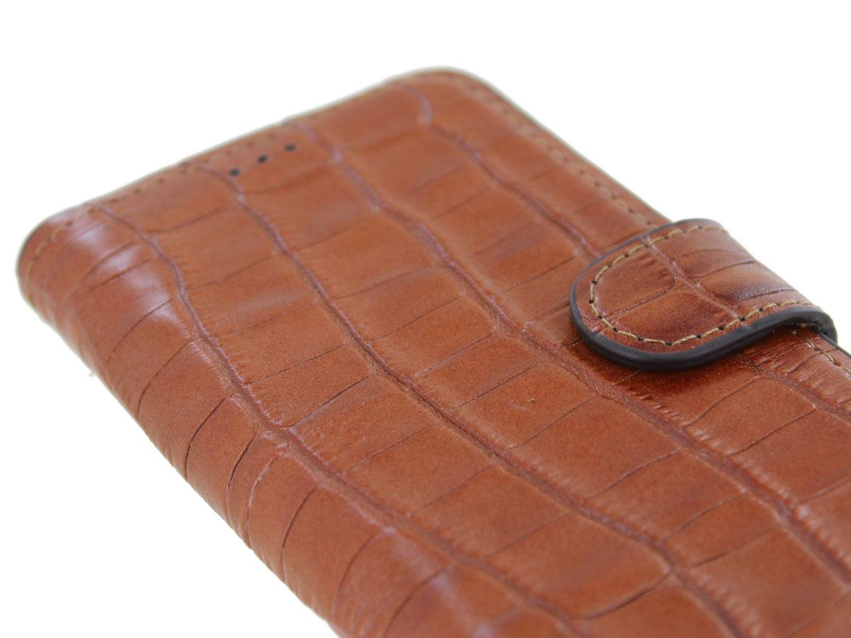 Classic Croco Leather Book Case Cognac - iPhone 12/12 Pro hoesje