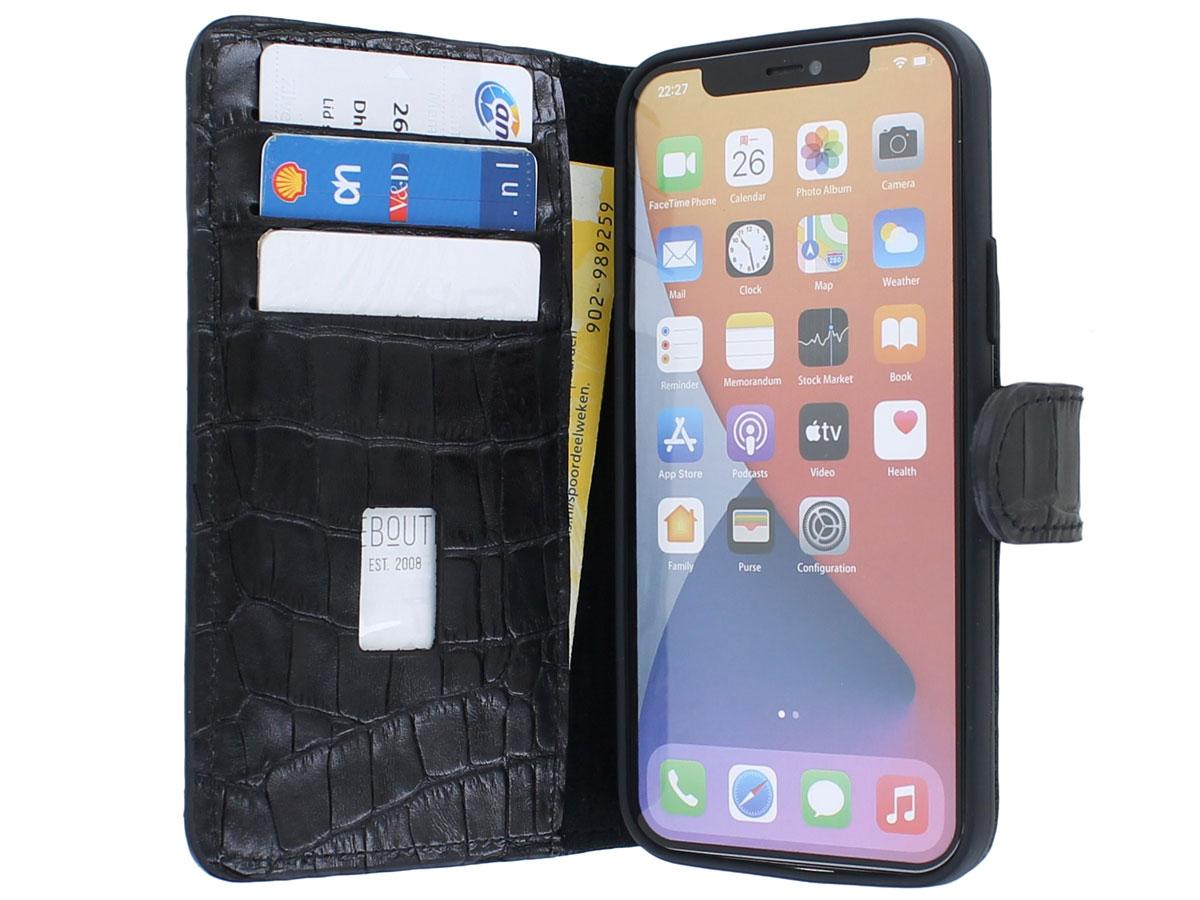 Classic Croco Leather Book Case Zwart - iPhone 12/12 Pro hoesje