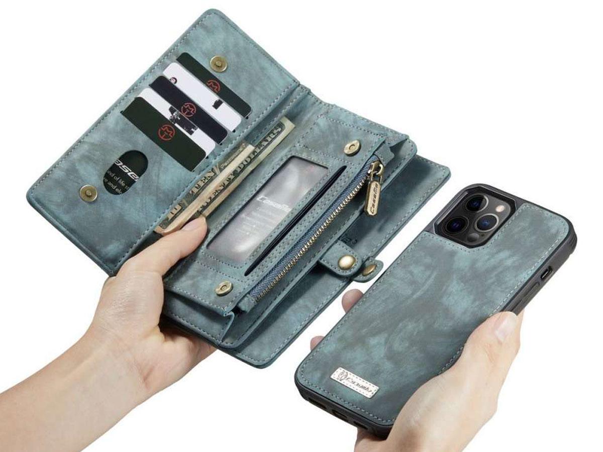 CaseMe 2in1 Wallet Case met Ritsvak Blauw - iPhone 12/12 Pro Hoesje