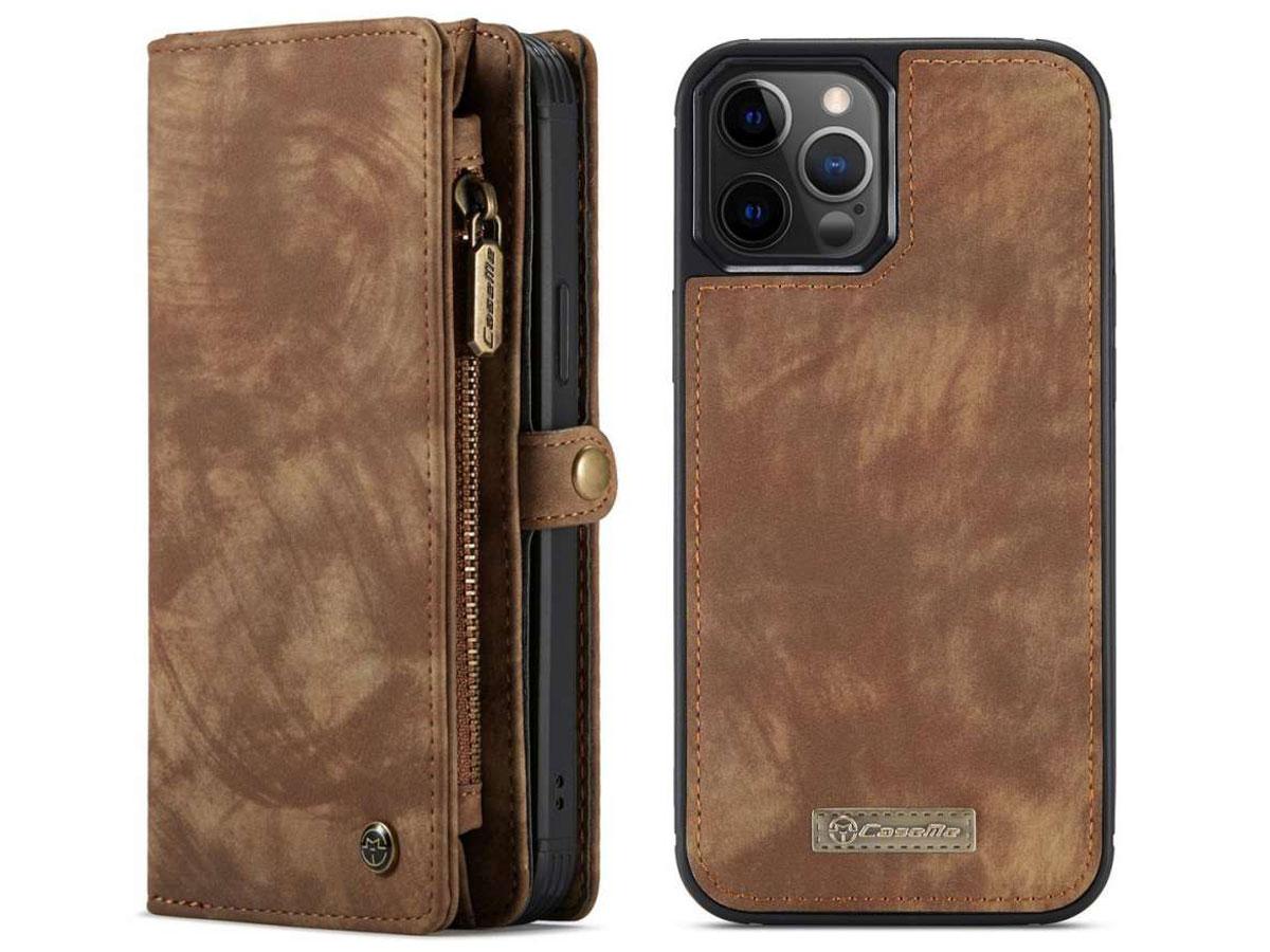 CaseMe 2in1 Wallet Case met Ritsvak Bruin - iPhone 12/12 Pro Hoesje