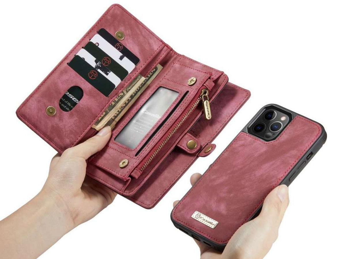 CaseMe 2in1 Wallet Case met Ritsvak Rood - iPhone 12/12 Pro Hoesje