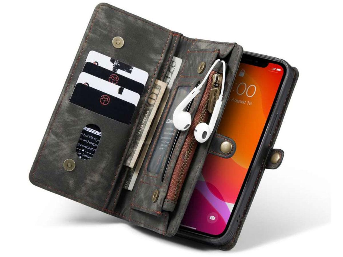 CaseMe 2in1 Wallet Case met Ritsvak Zwart - iPhone 12/12 Pro Hoesje