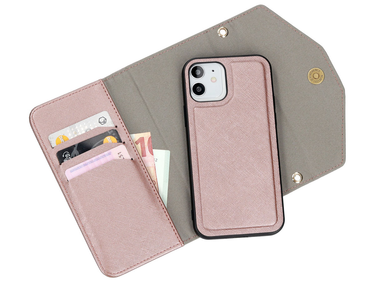 Casetastic Saffiano 2in1 Clutch Case Rosé - iPhone 12/12 Pro hoesje