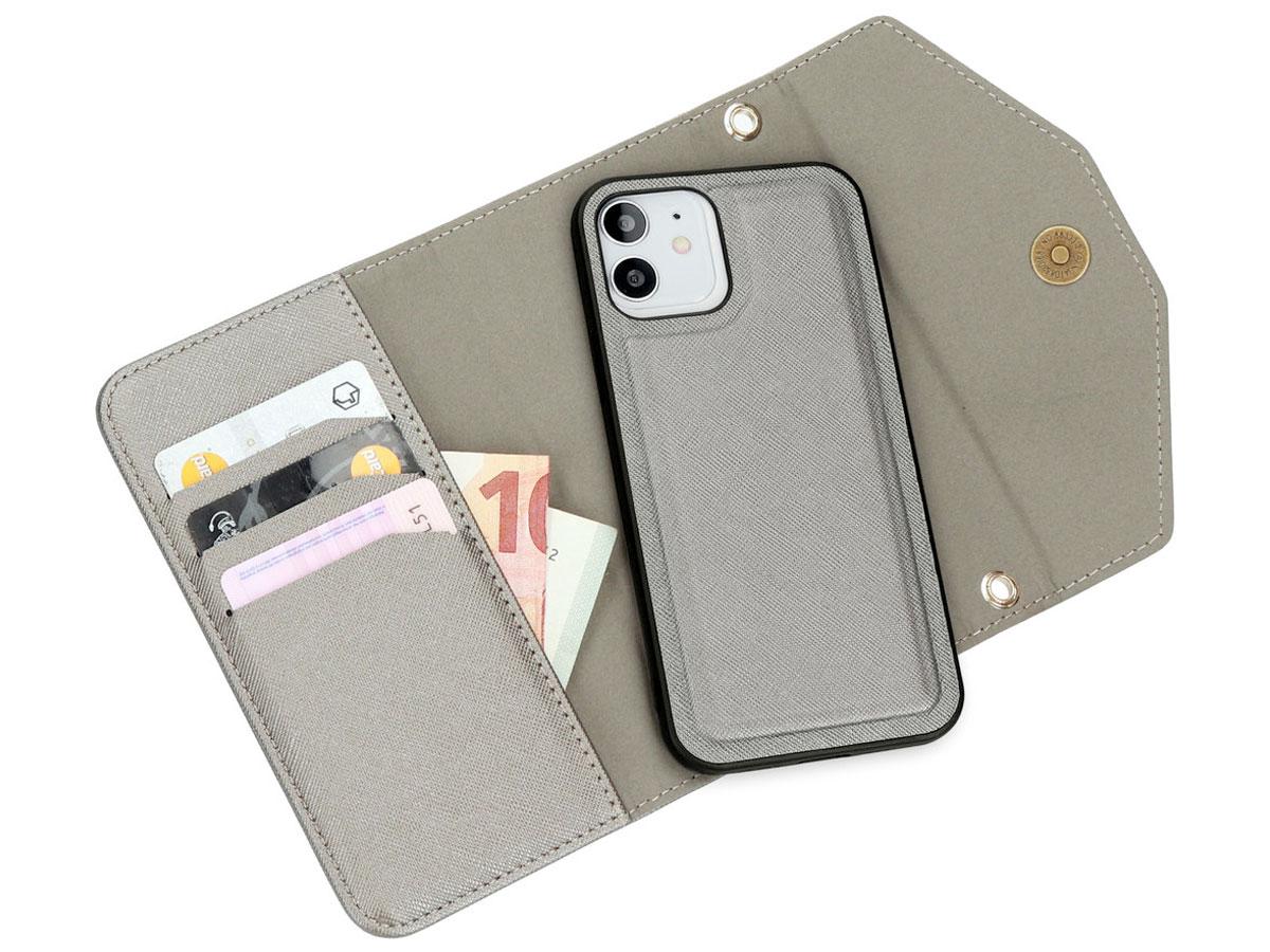 Casetastic Saffiano 2in1 Clutch Case Zilver - iPhone 12/12 Pro hoesje
