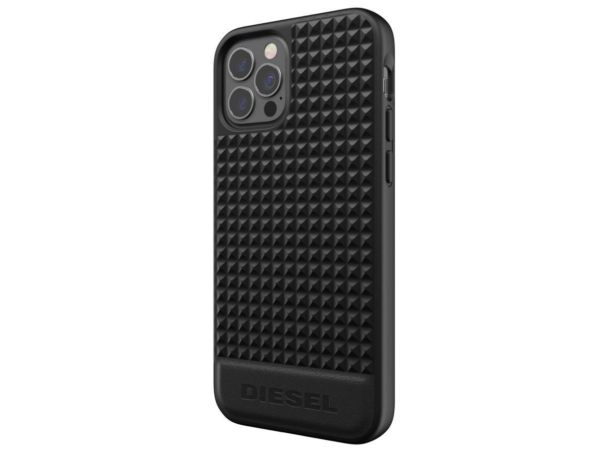 Diesel Leather Studs Case - iPhone 12/12 Pro hoesje Zwart