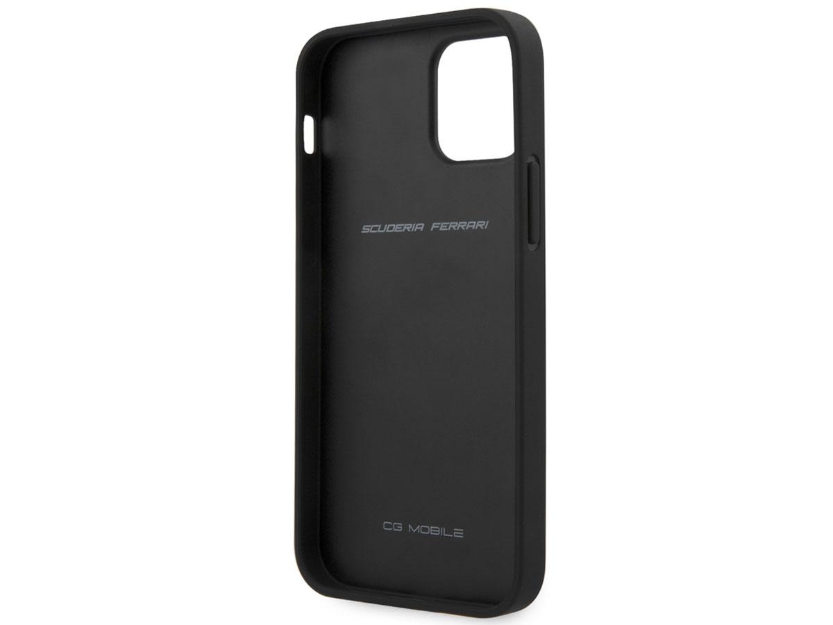 Ferrari Quilted Leather Case Zwart - iPhone 12/12 Pro Hoesje