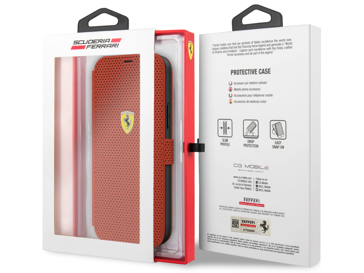Ferrari On Track Perforated Bookcase Rood - iPhone 12/12 Pro Hoesje
