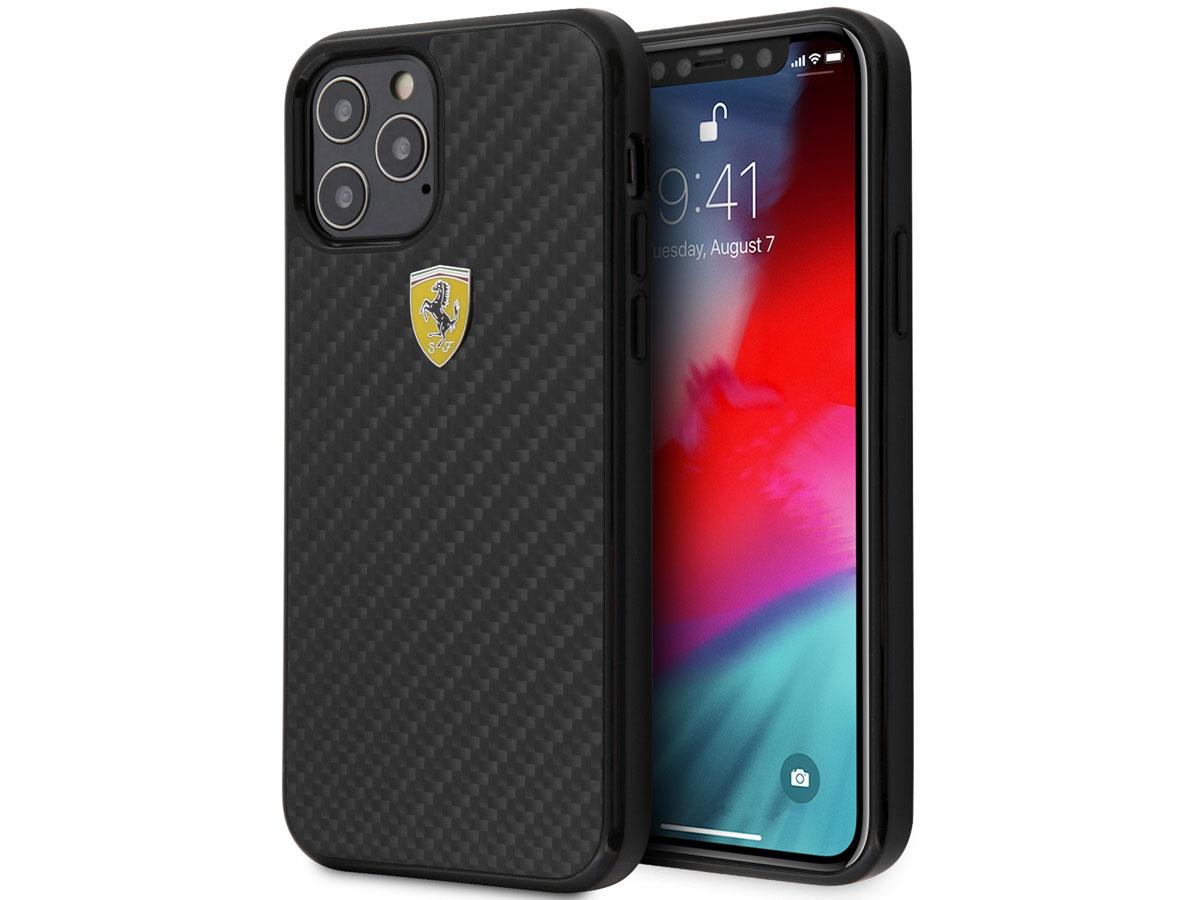 Ferrari Carbon Hard Case Zwart - iPhone 12/12 Pro Hoesje