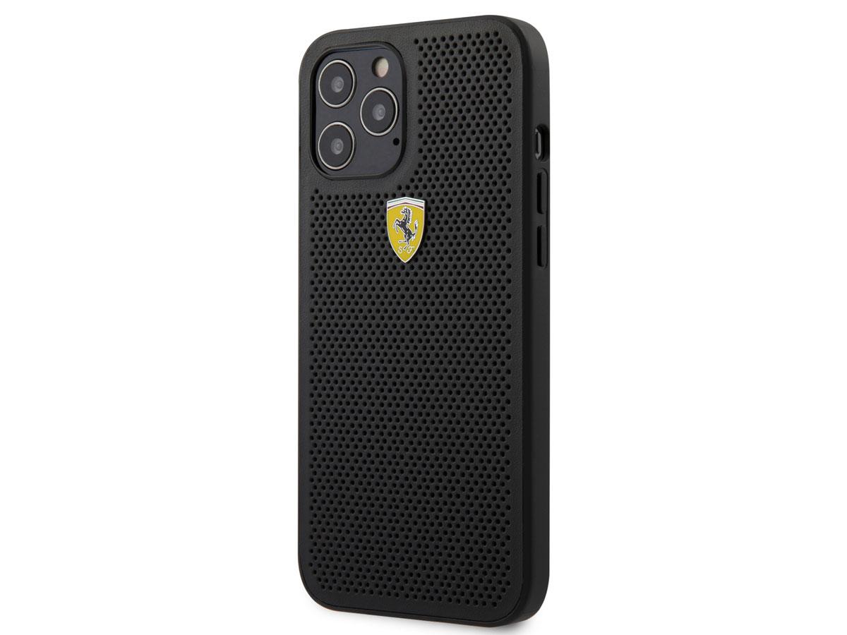Ferrari Perforated PU Case Zwart - iPhone 12/12 Pro Hoesje