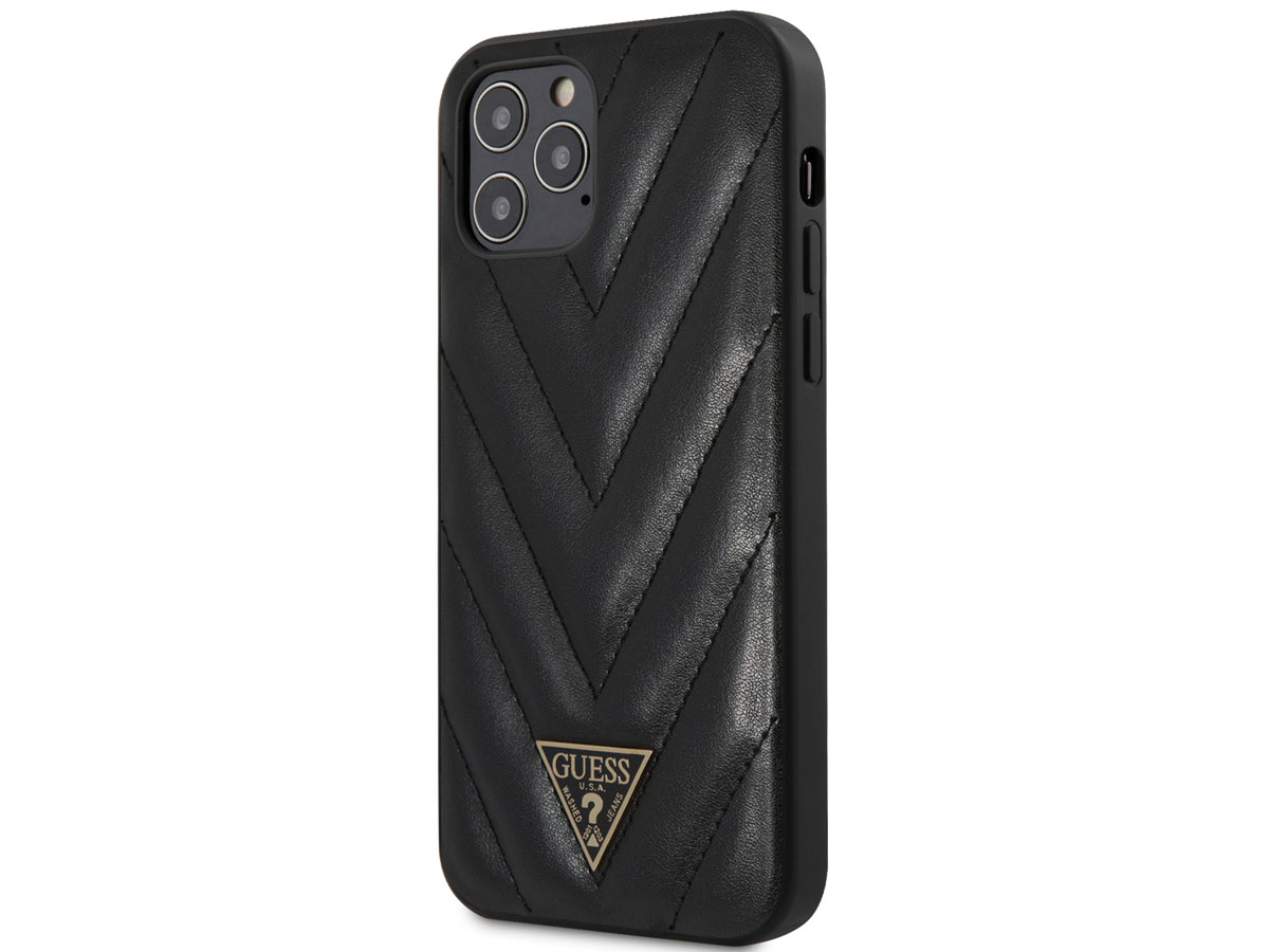 Guess V-Quilted Case Zwart - iPhone 12/12 Pro hoesje