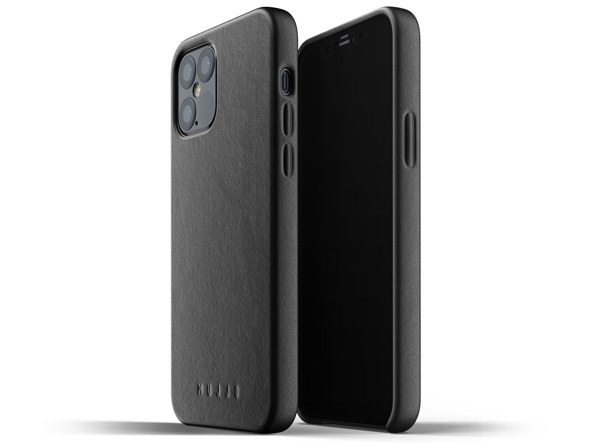 Mujjo Full Leather Case Zwart - iPhone 12/12 Pro Hoesje Leer