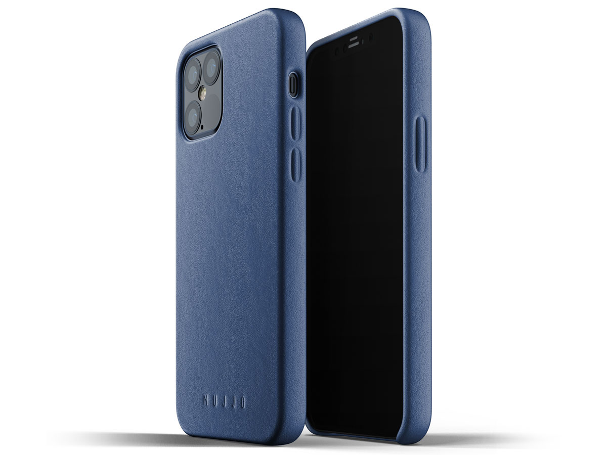 Mujjo Full Leather Case Blauw - iPhone 12/12 Pro Hoesje Leer