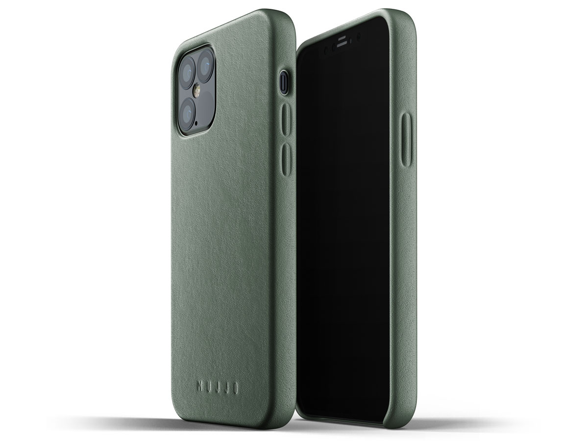 Mujjo Full Leather Case Groen - iPhone 12/12 Pro Hoesje Leer