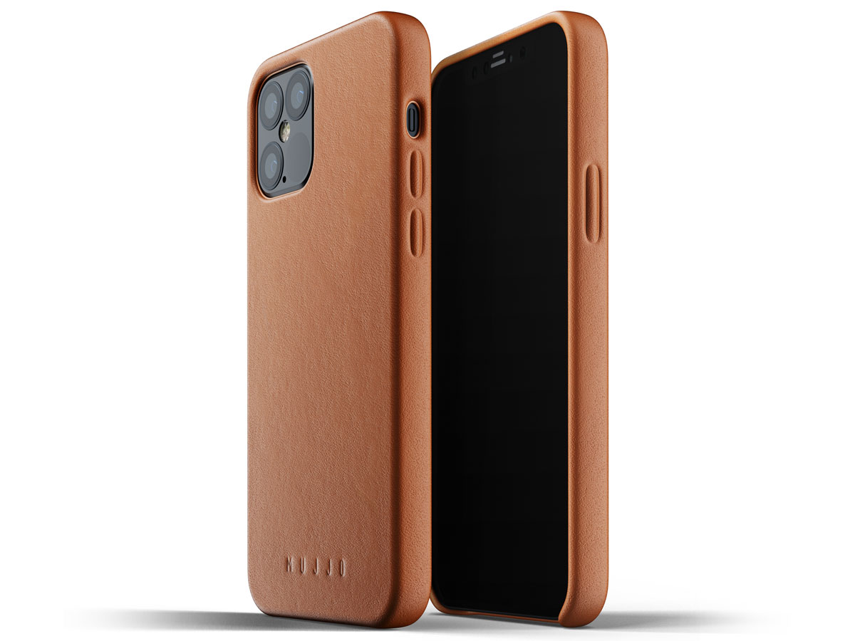 Mujjo Full Leather Case Tan - iPhone 12/12 Pro Hoesje Leer Cognac