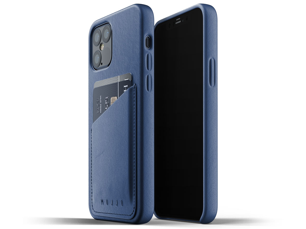Mujjo Full Leather Wallet Case Blauw - iPhone 12/12 Pro Hoesje Leer