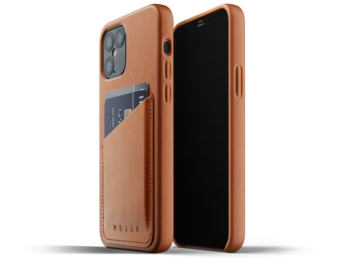 Mujjo Full Leather Wallet Case Tan - iPhone 12/12 Pro Hoesje Leer Cognac