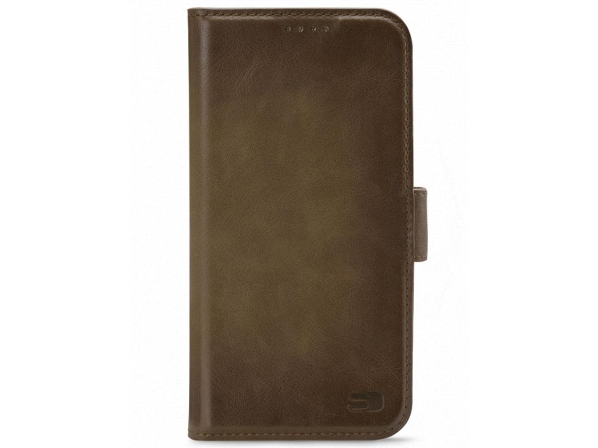 Senza Desire Bookcase Burned Olive - iPhone 12/12 Pro hoesje Leer Olijf