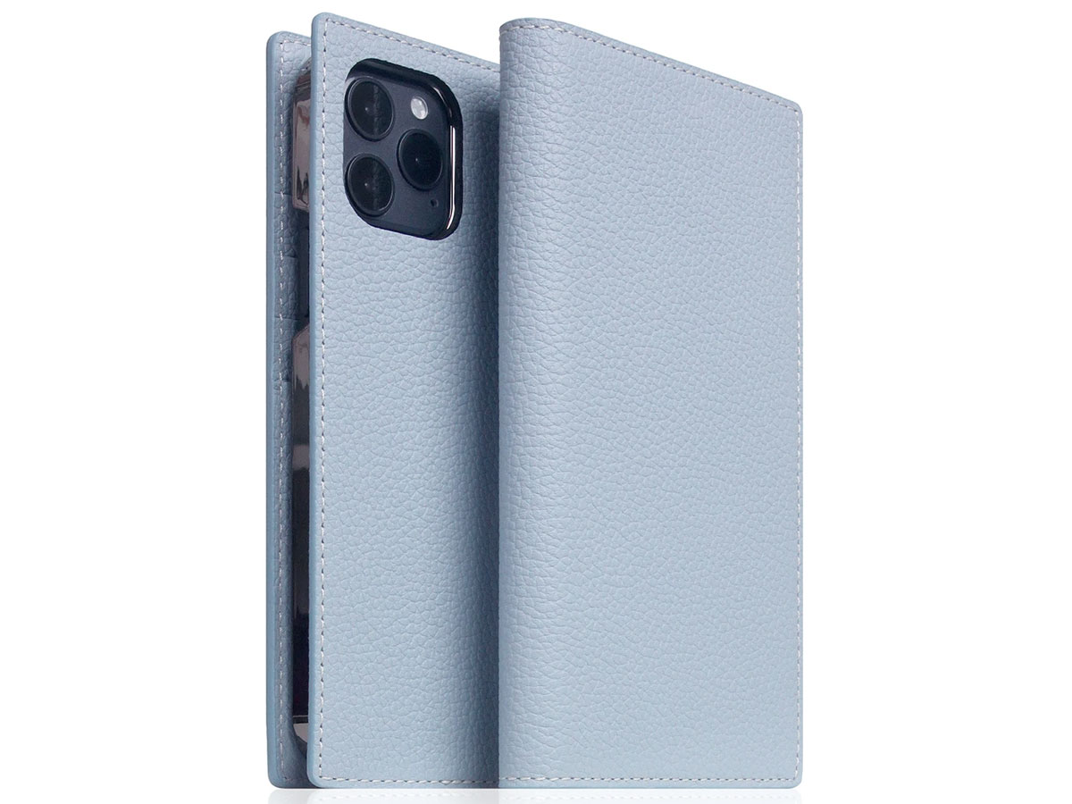 SLG Design D8 Folio Leer Powder Blue - iPhone 12 Mini hoesje Lichtblauw