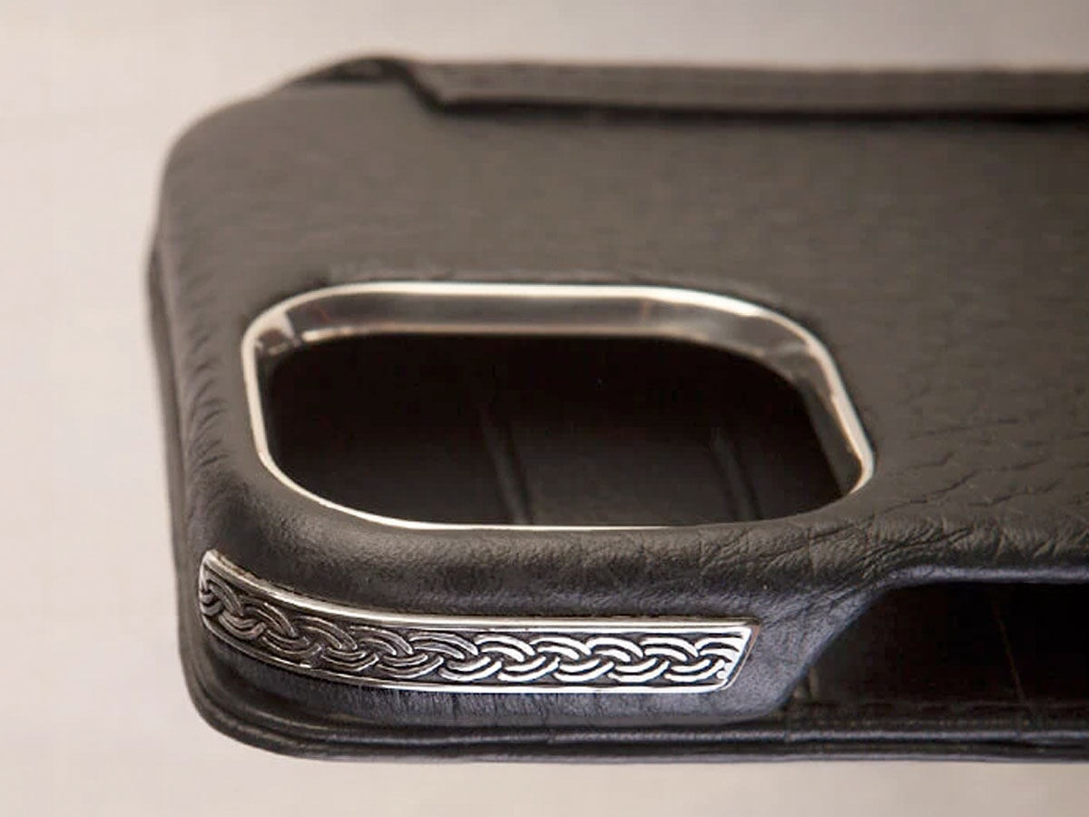 Vaja Silver MagSafe Wallet Celtic - Leren iPhone 12/12 Pro Hoesje met Zilver