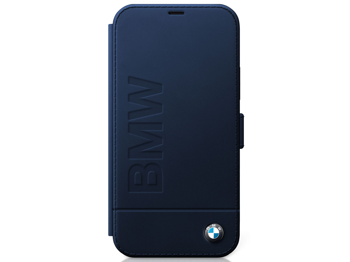 BMW Signature Bookcase Blauw Leer - iPhone 12 Pro Max hoesje