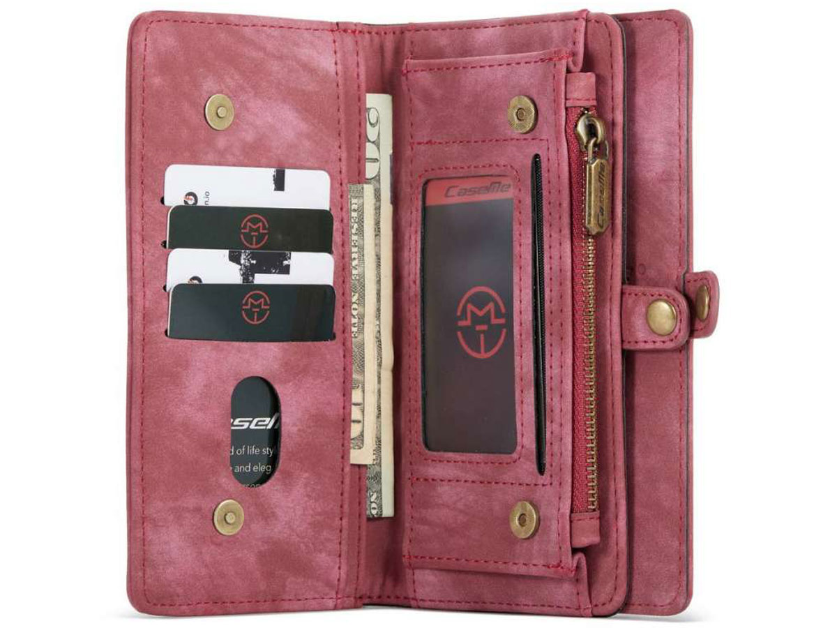 CaseMe 2in1 Wallet Case met Ritsvak Rood - iPhone 12 Pro Max Hoesje