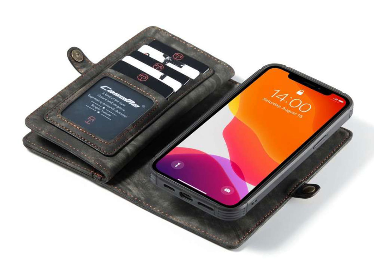 CaseMe 2in1 Wallet Case met Ritsvak Zwart - iPhone 12 Pro Max Hoesje