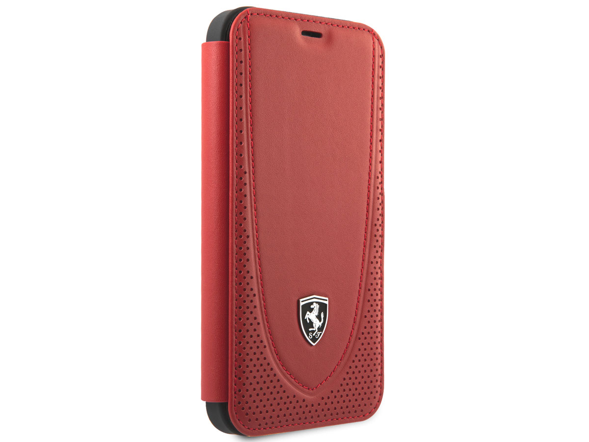 Ferrari Off Track Perforated Leather Bookcase Rood - iPhone 12 Pro Max Hoesje