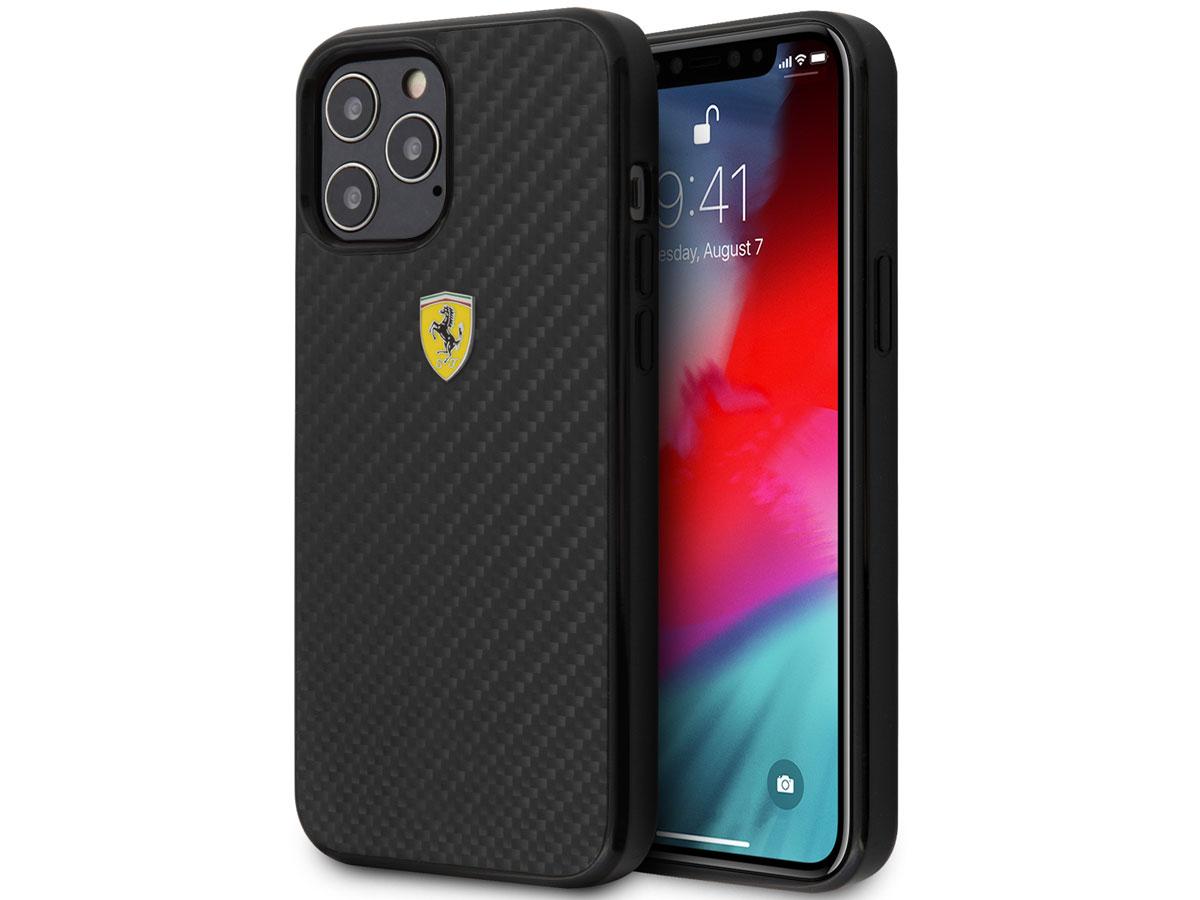 Ferrari Carbon Hard Case Zwart - iPhone 12 Pro Max Hoesje
