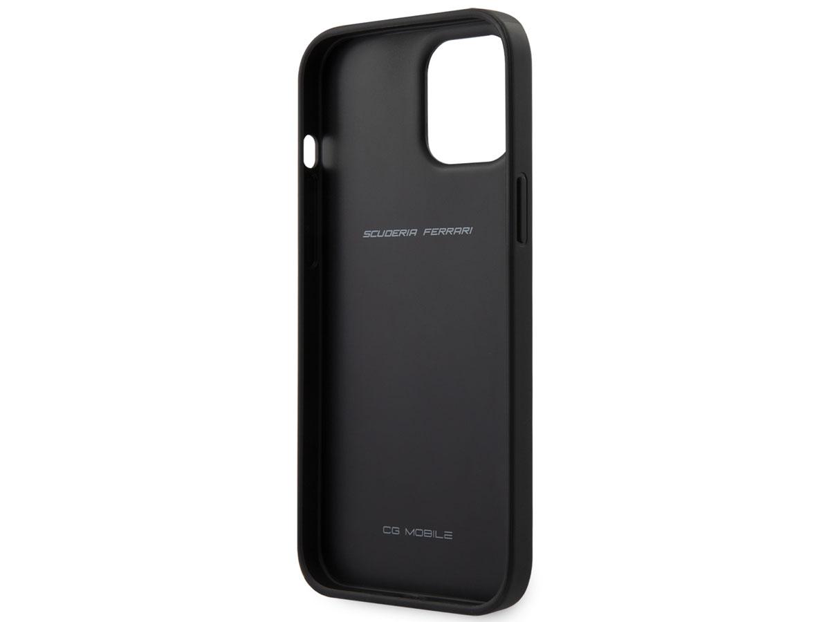 Ferrari Perforated Leather Case Zwart - iPhone 12 Pro Max Hoesje