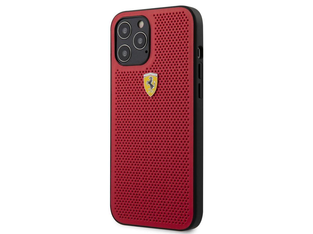 Ferrari Perforated PU Case Rood - iPhone 12 Pro Max Hoesje