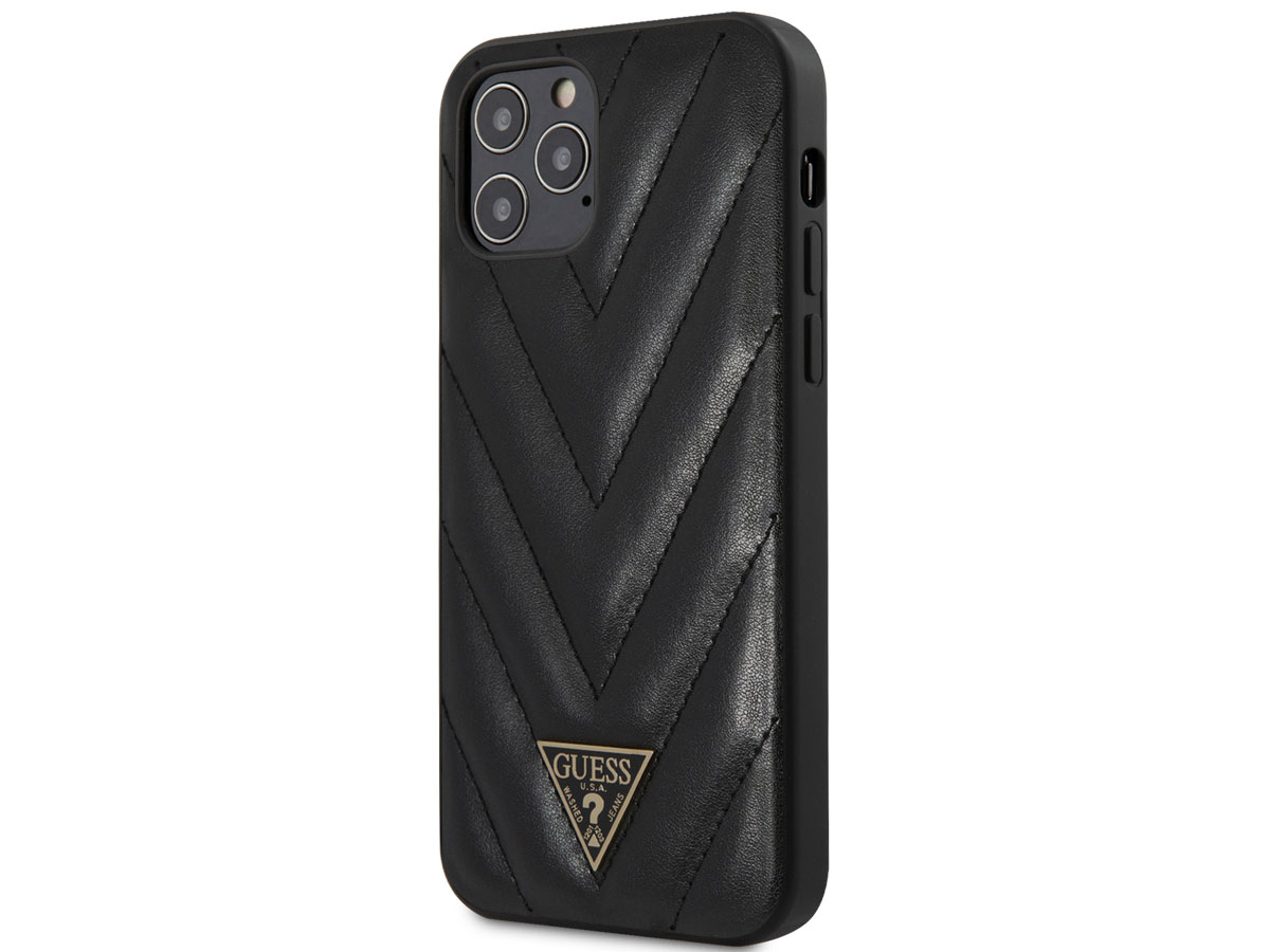Guess V-Quilted Case Zwart - iPhone 12 Pro Max hoesje